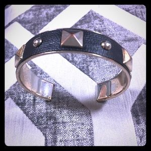 Black leather and gold stud bangle bracelet